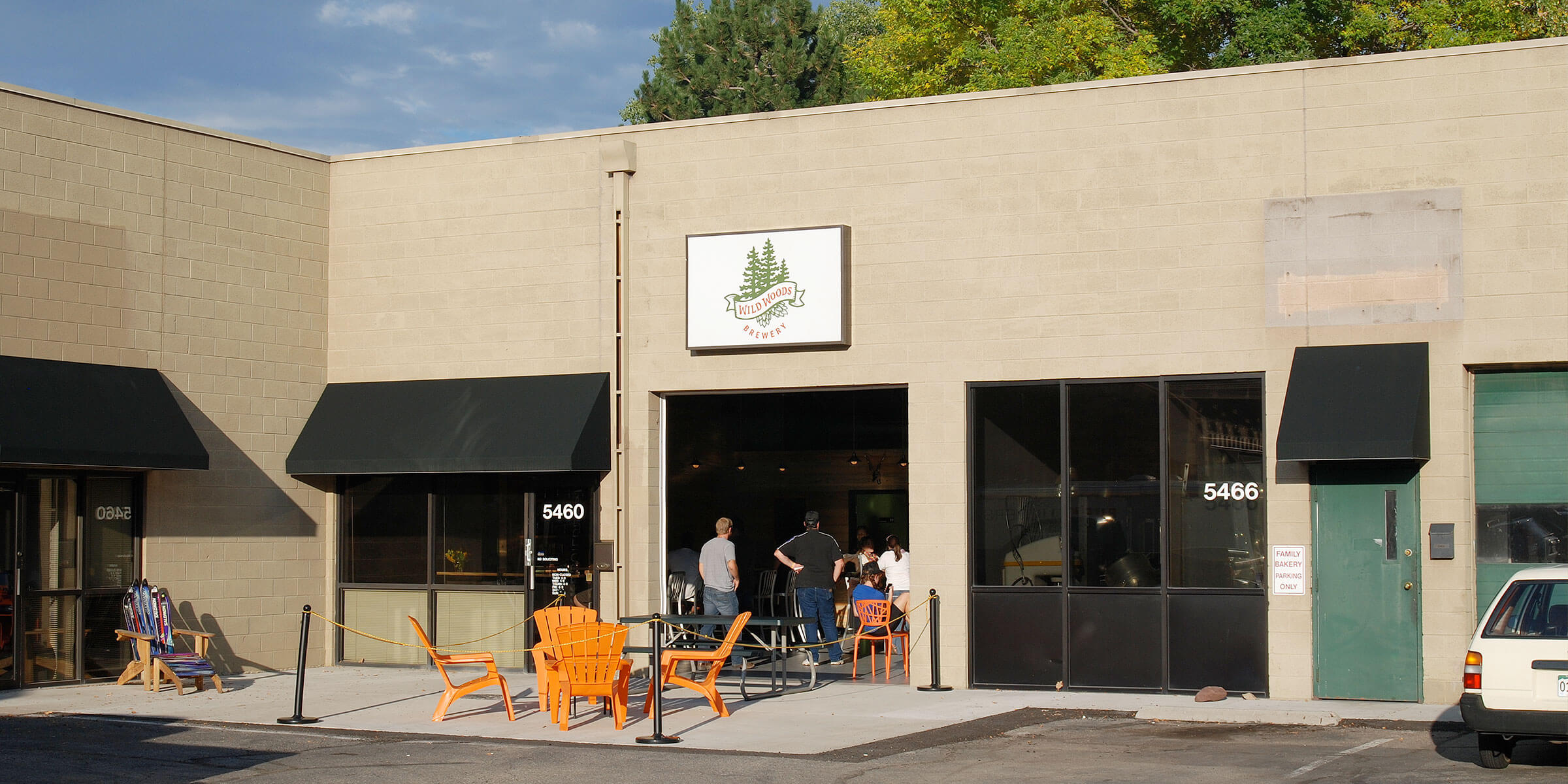 Outside the taproom at Wild Woods Brewery in Boulder, Colorado