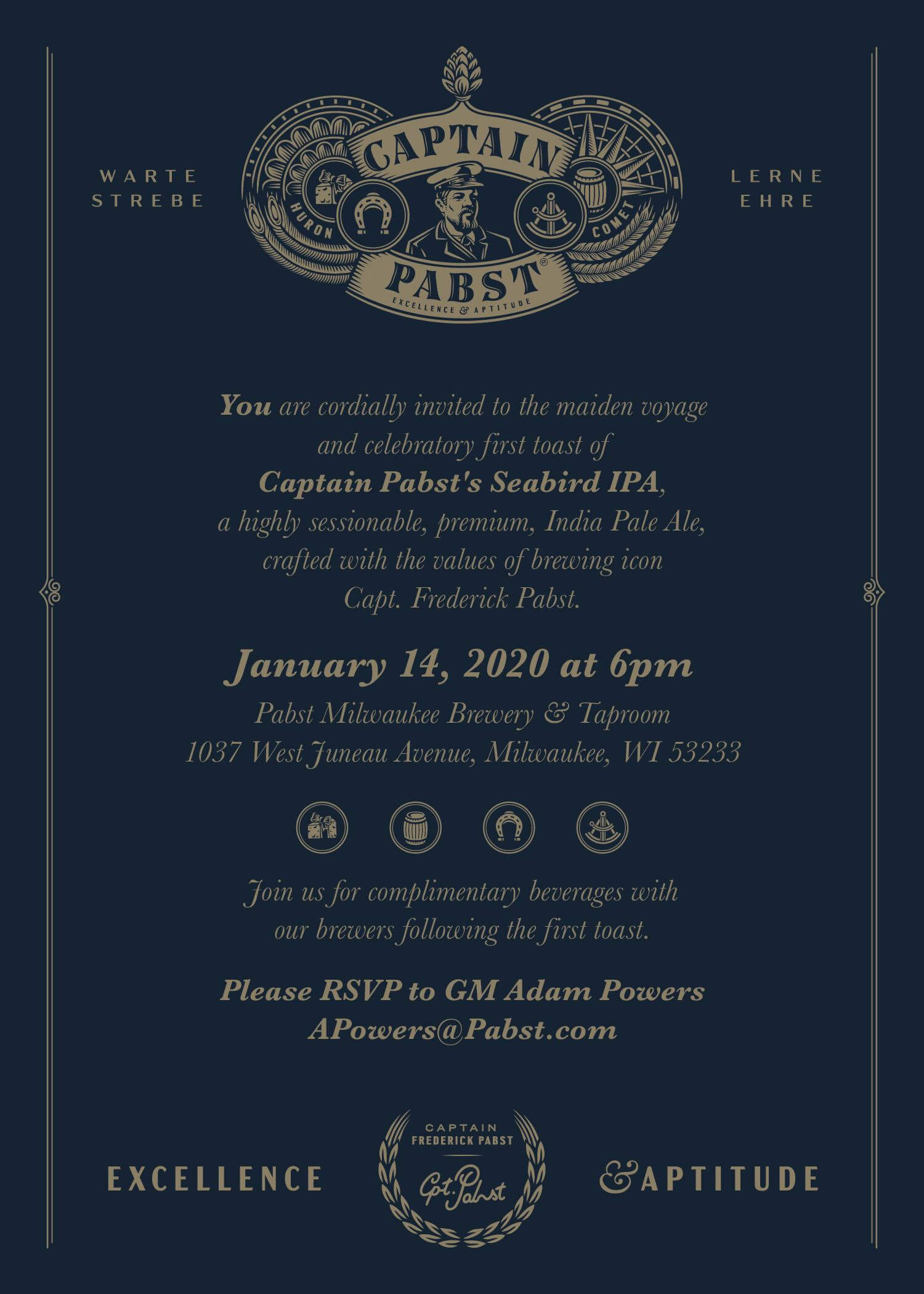 Invite for the launch party for Captain Pabst and its flagship beer, Seabird IPA