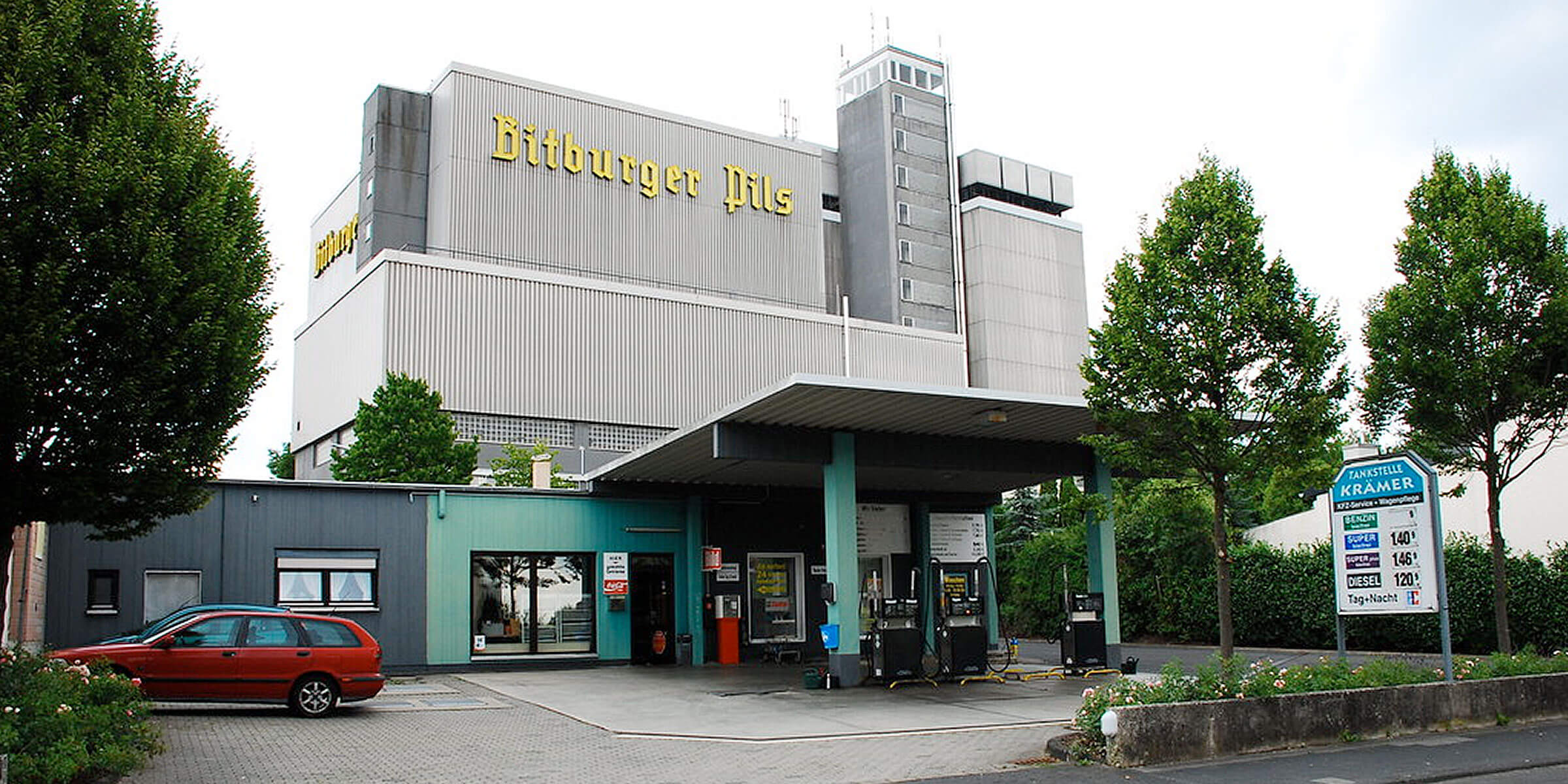 Outside the Bitburger Brauerei headquarters in Bitburg, Rhineland-Palatinate, Germany