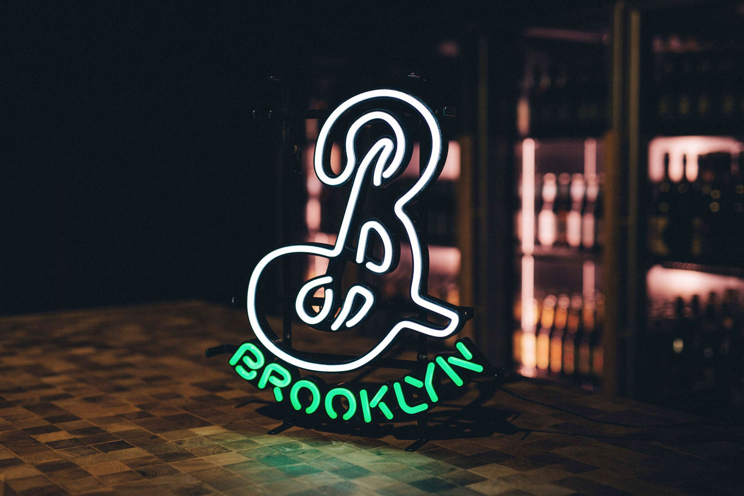 Neon Brooklyn Brewery logo signage inside the B at K5 taproom