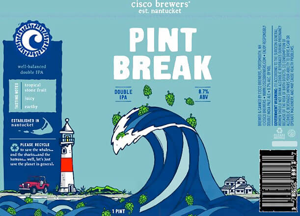 Label design for 16 oz. cans of Pint Break by Cisco Brewers
