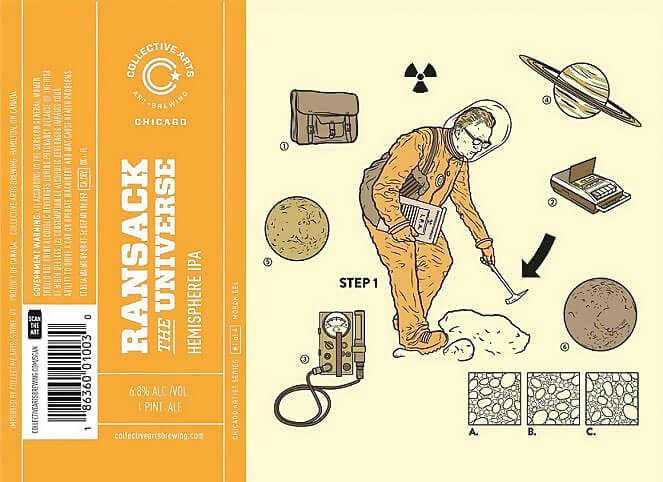 Label art for the Ransack the Universe by Collective Arts Brewing