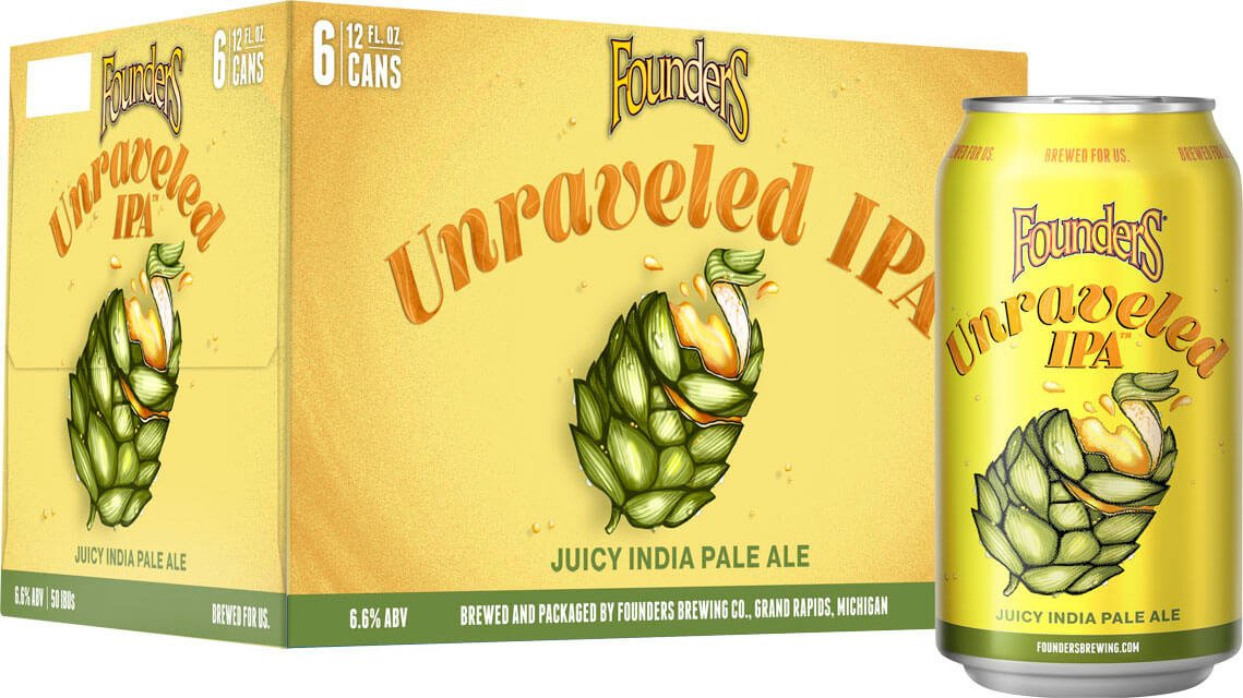 Packaging design for six packs of 12 oz. cans of the Unraveled IPA by Founders Brewing Co.