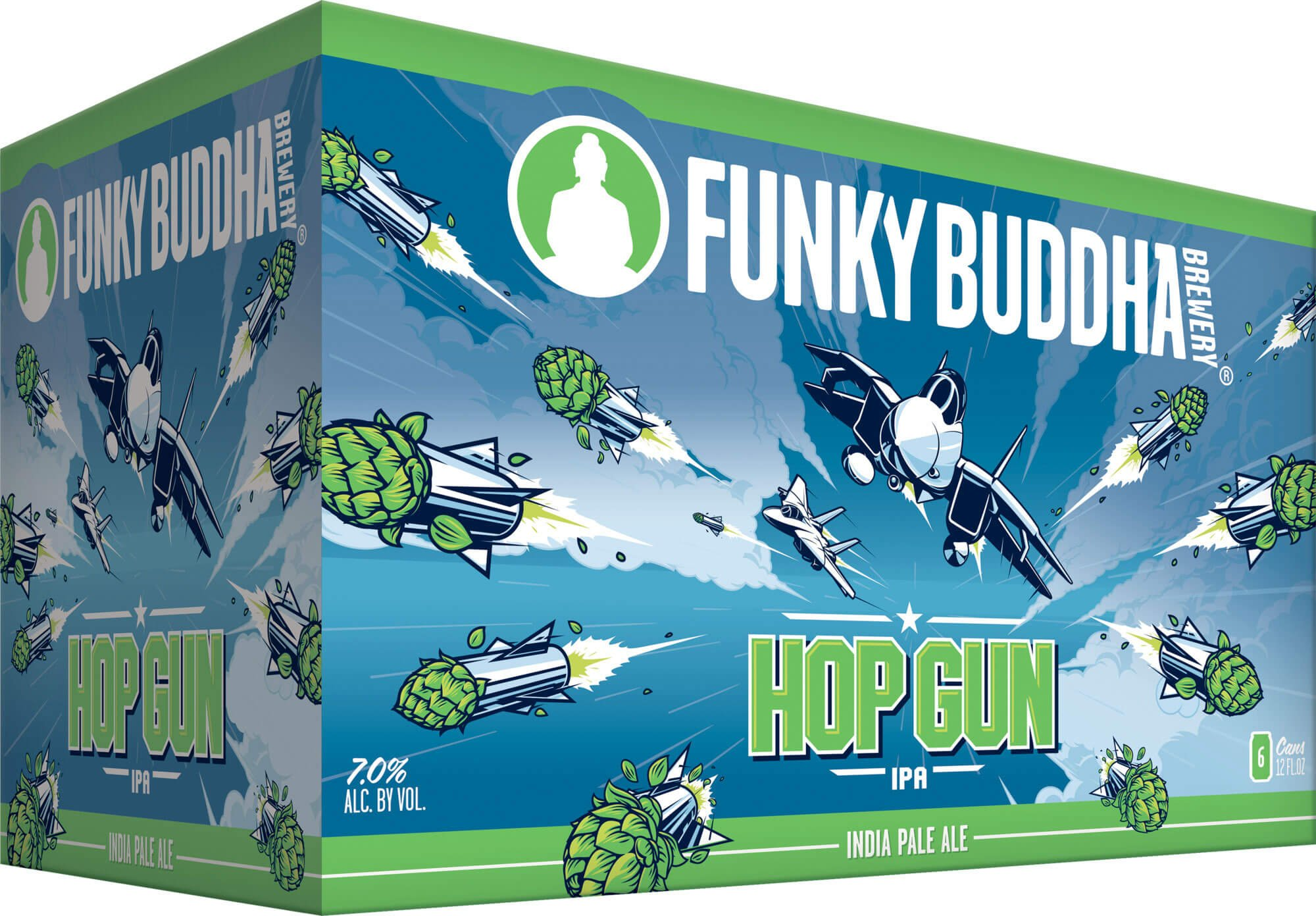 Packaging art for the Hop Gun IPA by Funky Buddha Brewery
