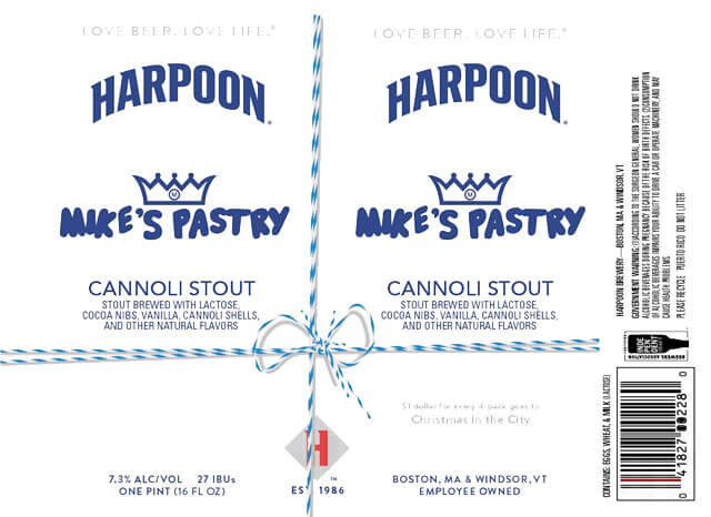 Label design for 16 oz. cans of Mike's Pastry Cannoli Stout by Harpoon Brewery and Mike's Pastry