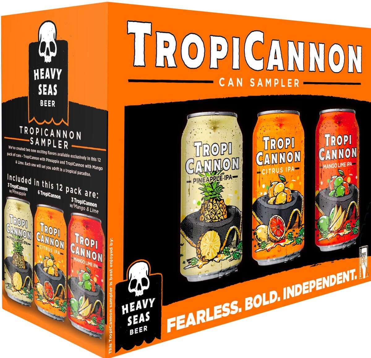 Packaging for TropiCannon 12 Pack featuring the TropiCannon Citrus IPA, TropiCannon Pineapple IPA, and TropiCannon Mango Lime IPA