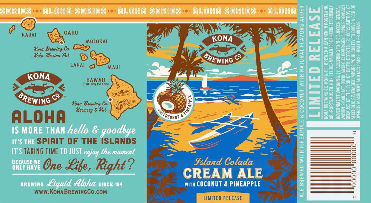 Label design for 12 oz. cans of the Island Colada Cream Ale by Kona Brewing Co.