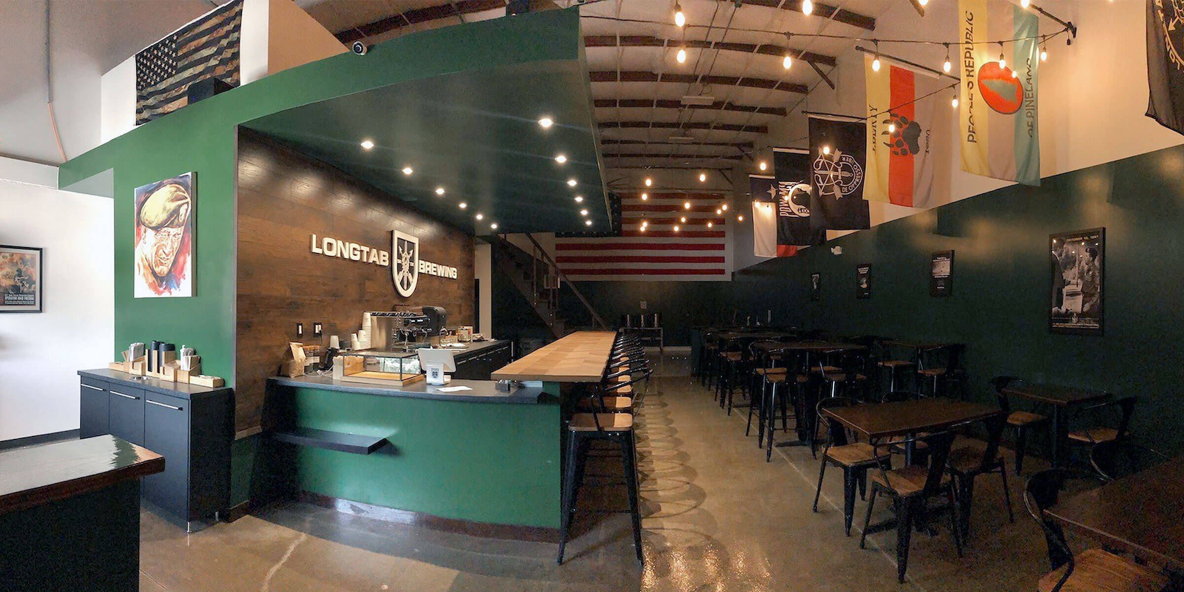 Inside the taproom at Longtab Brewing Company in San Antonio, Texas