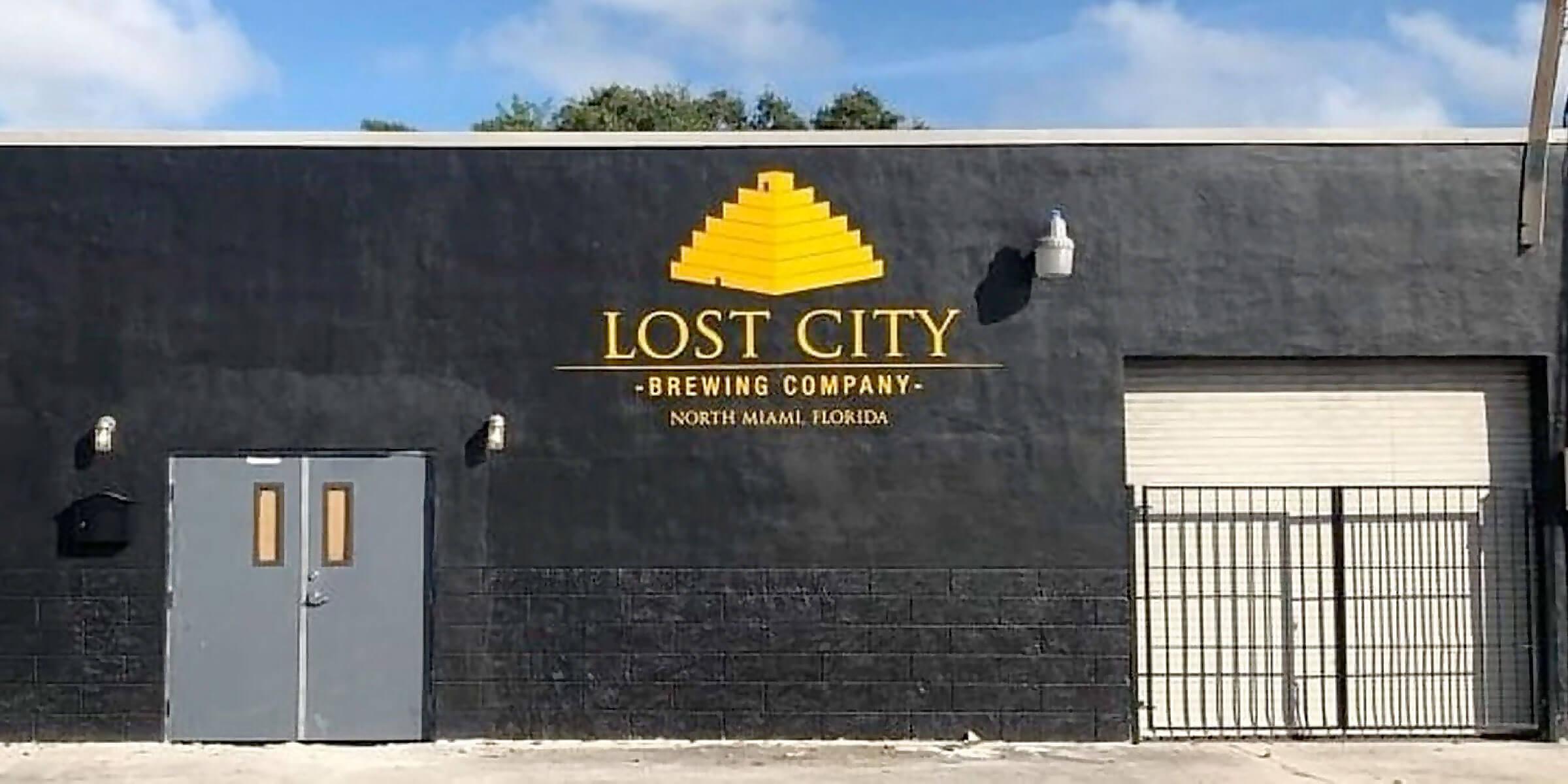 Outside the Lost City Brewing Company in North Miami, Florida