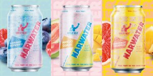 A trio of canned Narwater Craft Hard Seltzer beverages by Monday Night Brewing