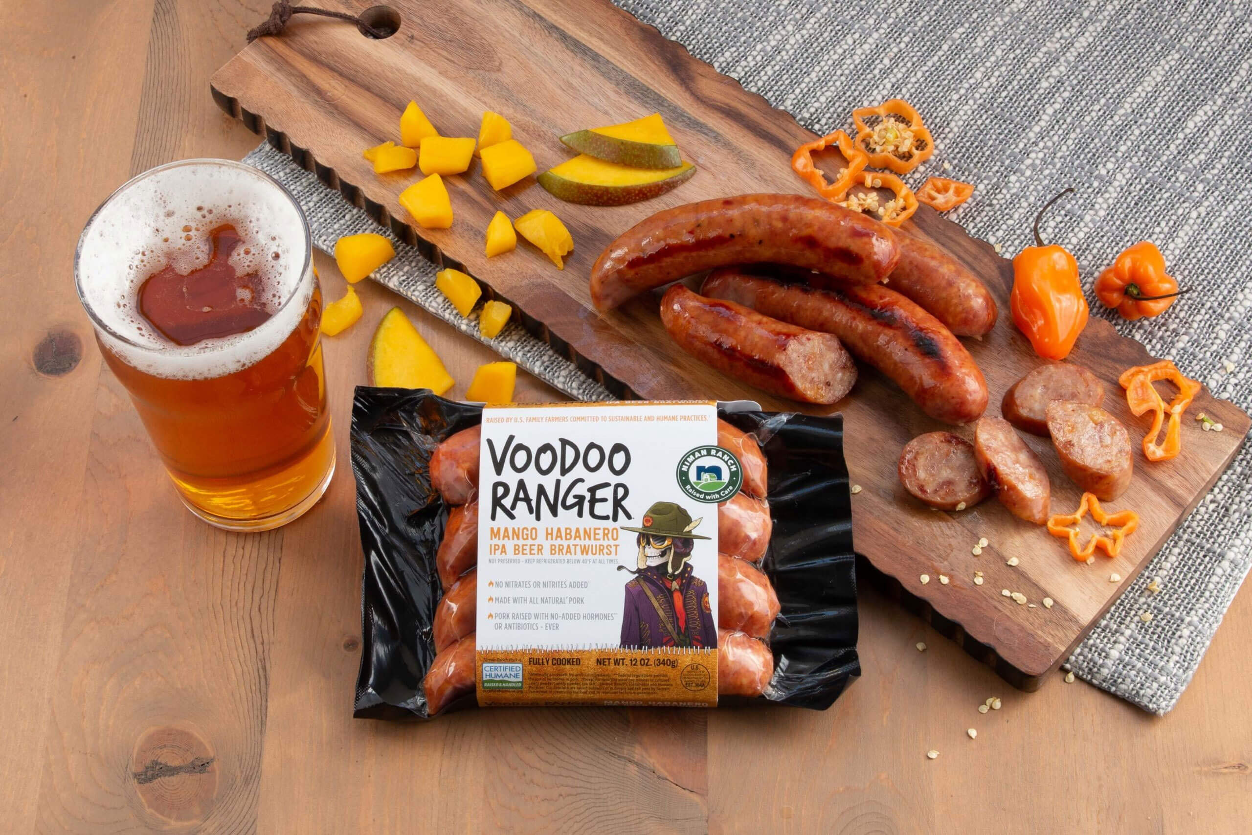 Niman Ranch and New Belgium Brewing Company have debuted the bold and spicy Voodoo Ranger Mango Habanero IPA Beer Bratwurst, now available nationwide.