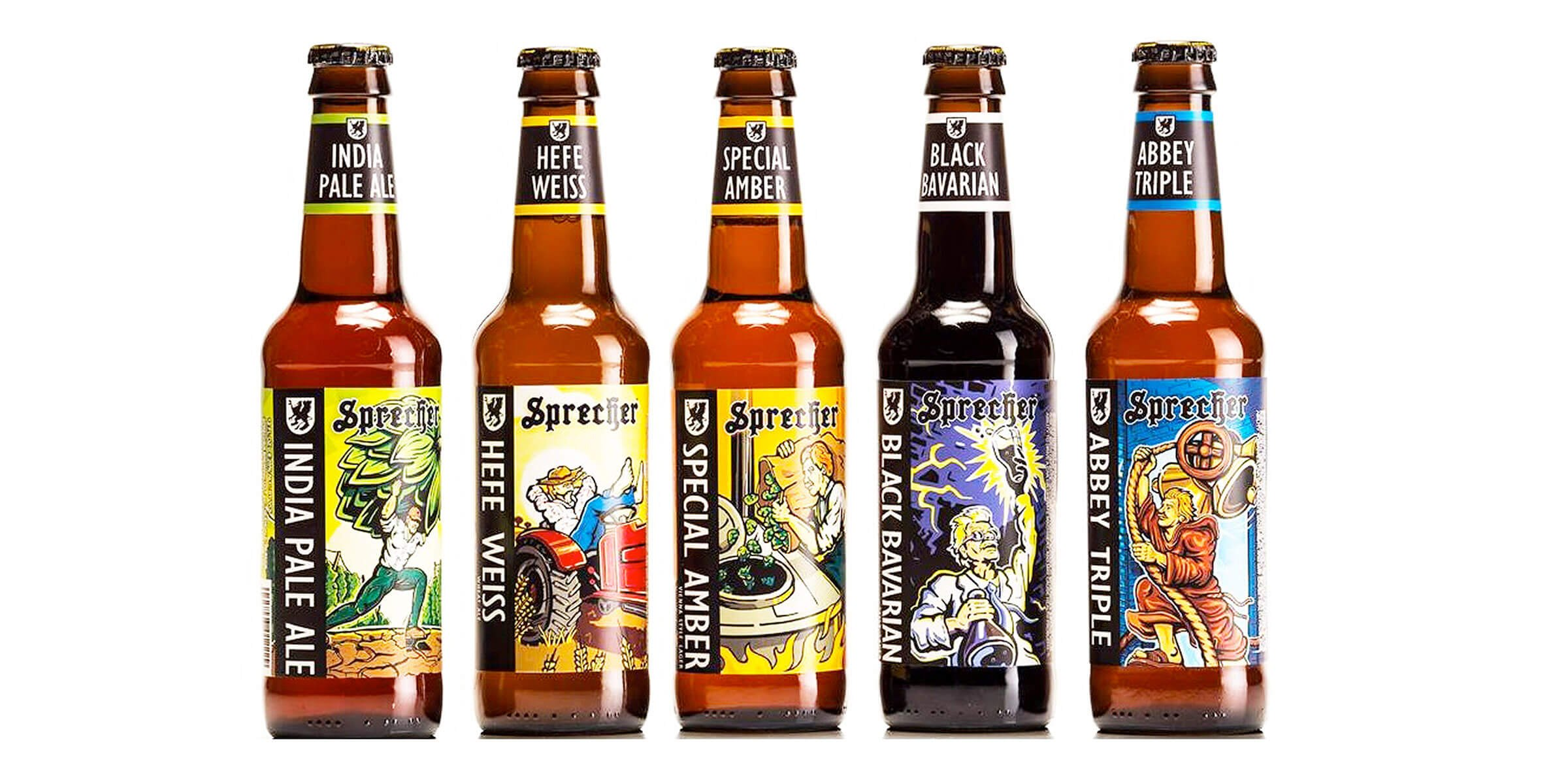 A lineup of bottled beers offered by Sprecher Brewing Company