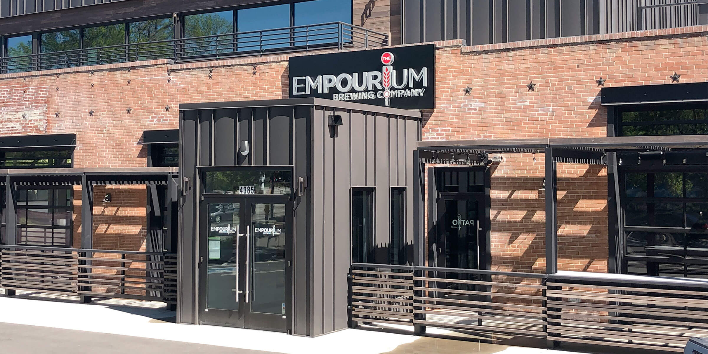 Outside the entrance to The Empourium Brewing Company in Denver, Colorado