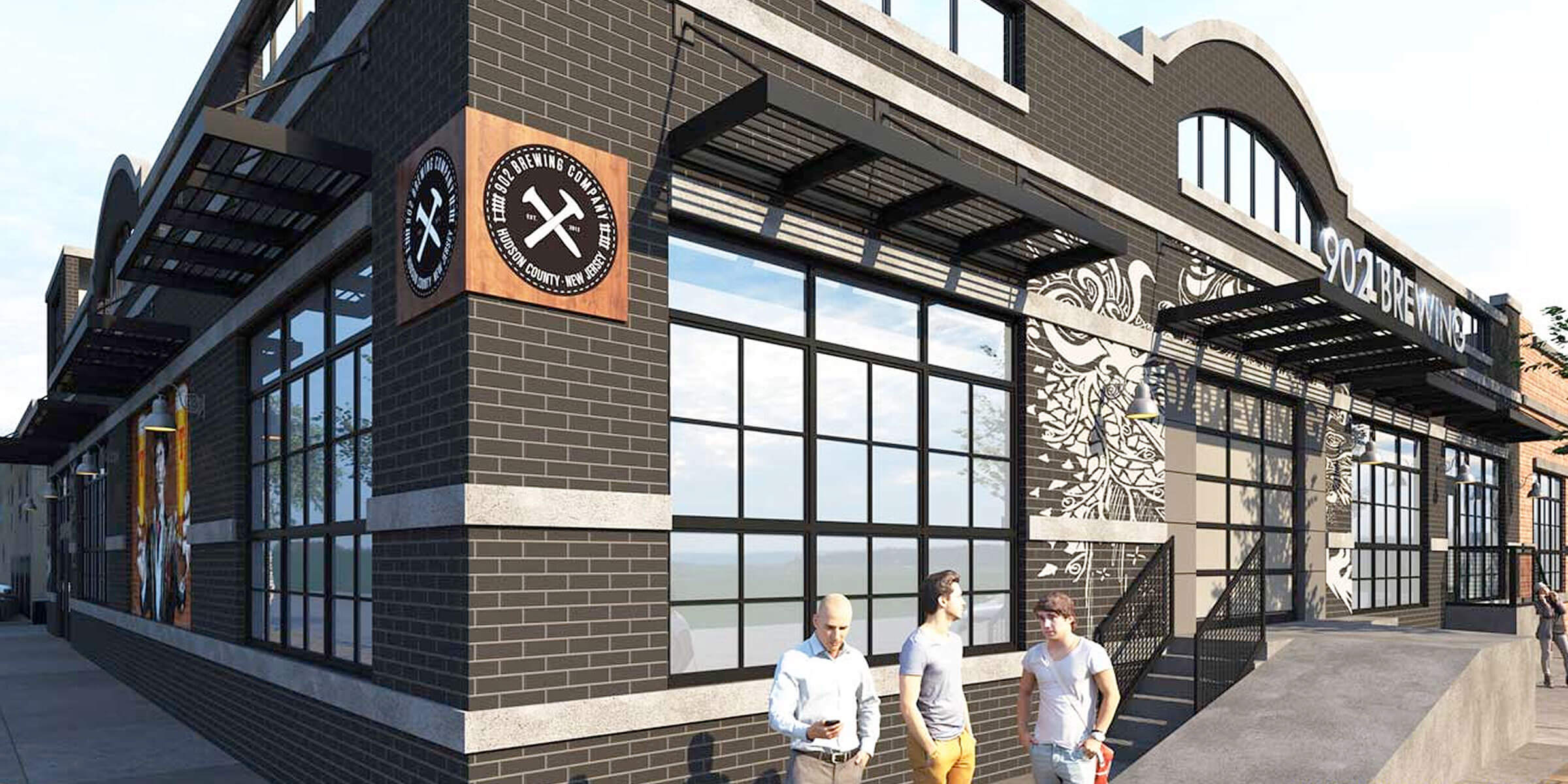 Architectural rendering of the 902 Brewing Company entrance in Jersey City, New Jersey