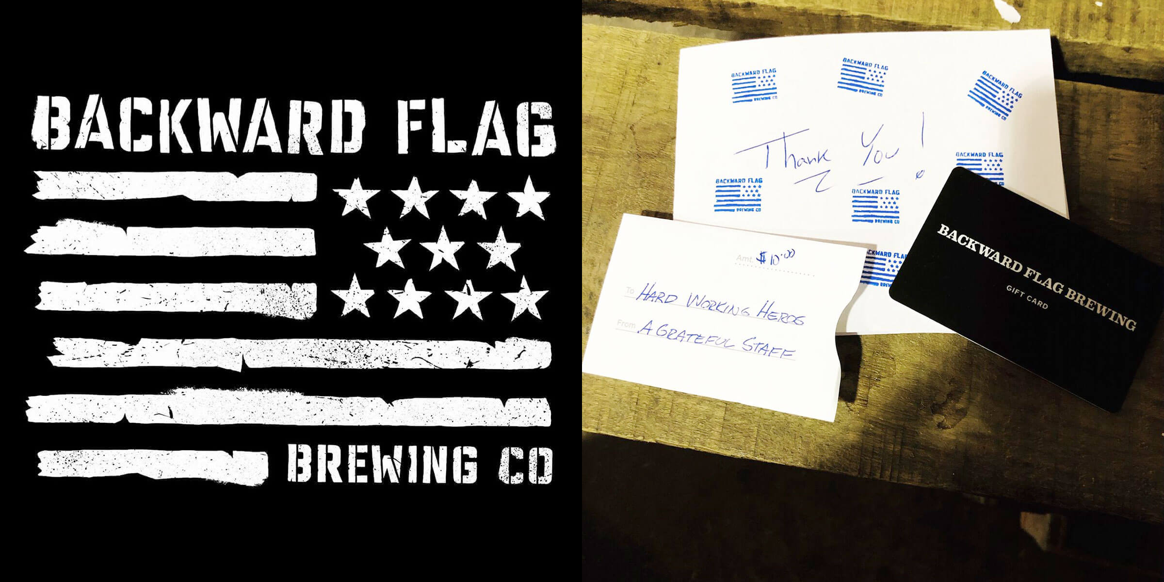 One of the gift cards donated by the Backward Flag Brewing Co. to the ER nurses at Southern Ocean Medical Center.