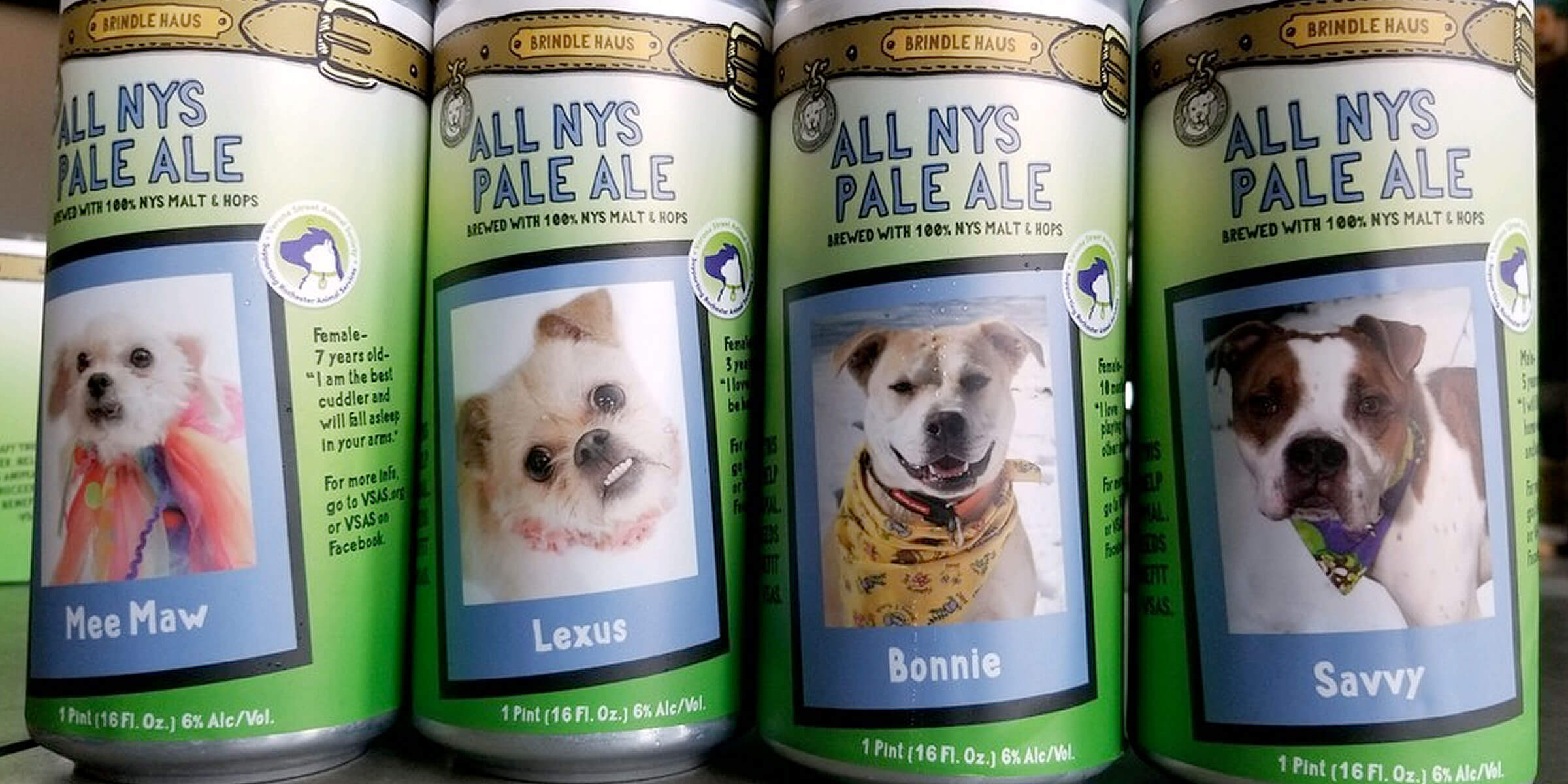 Brindle Haus Brewing Co.'s beer cans are raising awareness for adoptable dogs at Rochester Animal Services and funds for Verona Street Animal Society.