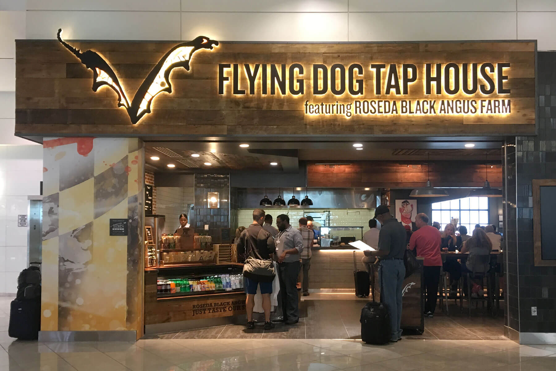 Outside the Flying Dog Tap House at Baltimore/Washington International Airport