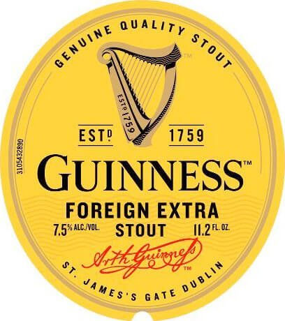 Label art for the Guinness Foreign Extra Stout by Guinness Ltd.