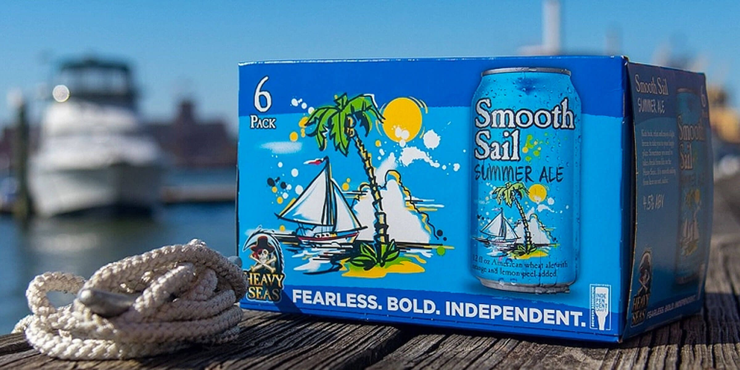 Six pack of 12 oz. cans of the Smooth Sail Summer Ale by Heavy Seas Beer
