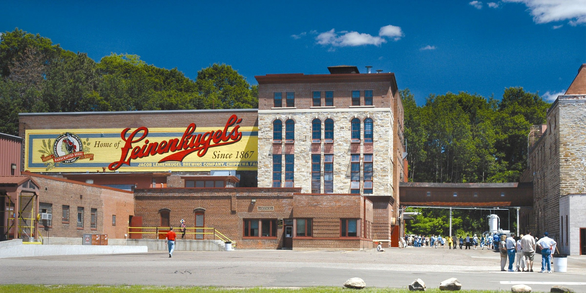 Outside the Jacob Leinenkugel Brewing Company production facility in Chippewa Falls, Wisconsin