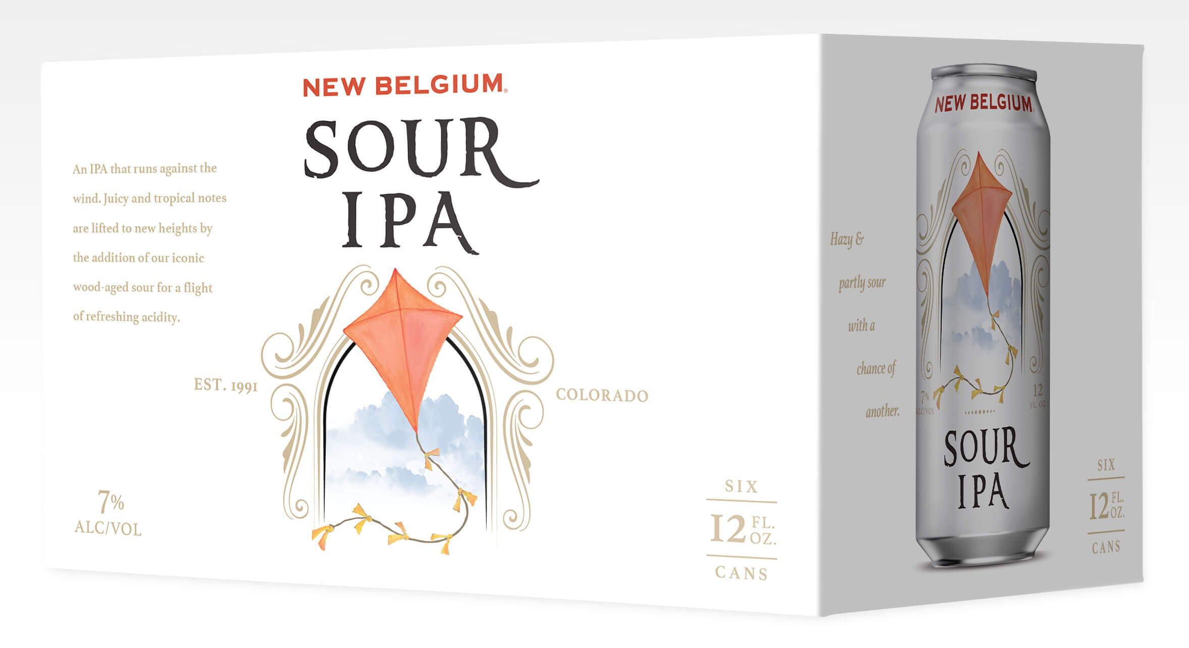 Packaging design for six packs of 12 oz. cans of the Sour IPA by New Belgium Brewing Company