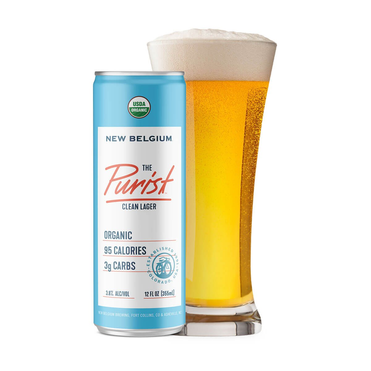 12 oz. can and glass of The Purist Clean Lager by New Belgium Brewing Company