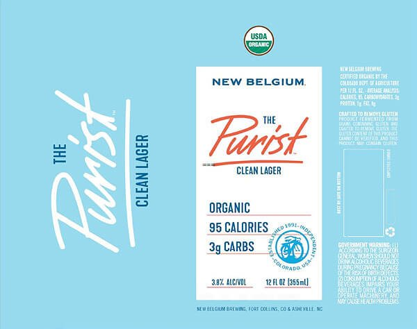 Label design for 12 oz. can of The Purist Clean Lager by New Belgium Brewing Company