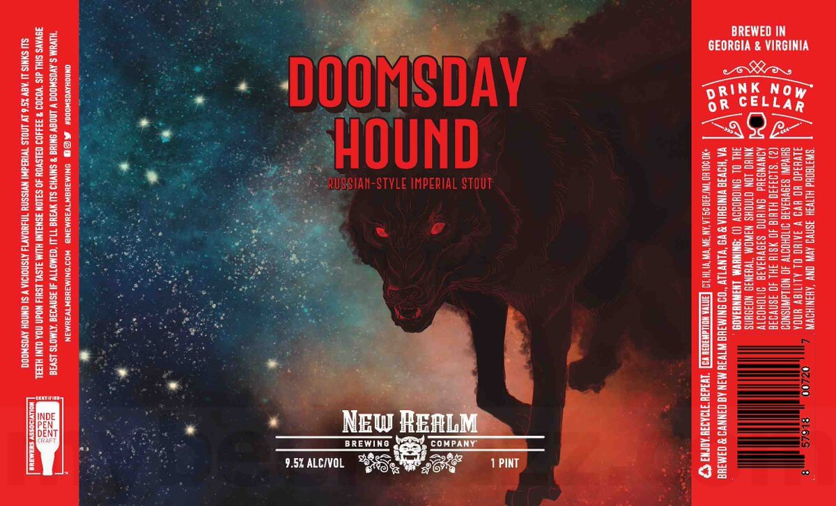 Label design for 16 oz. cans of the Doomsday Hound by New Realm Brewing Company