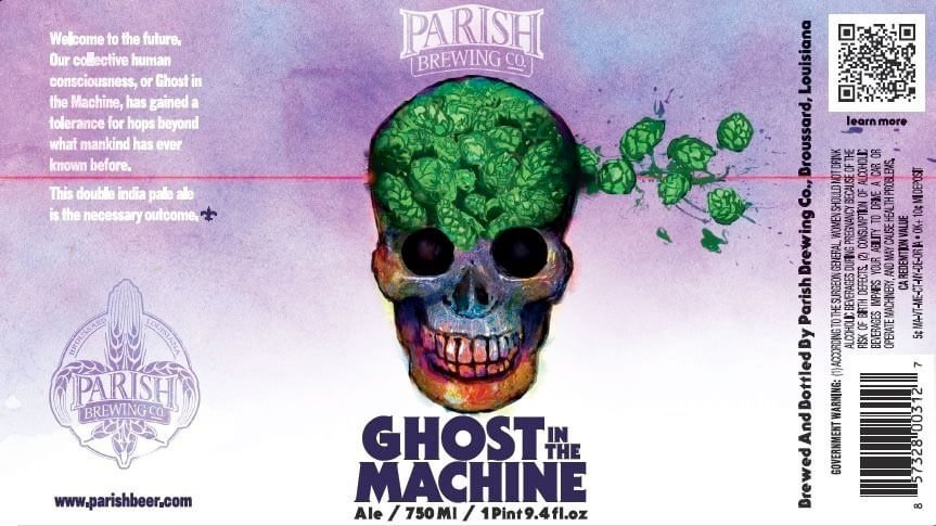 Label art for the Ghost in the Machine by Parish Brewing Co.