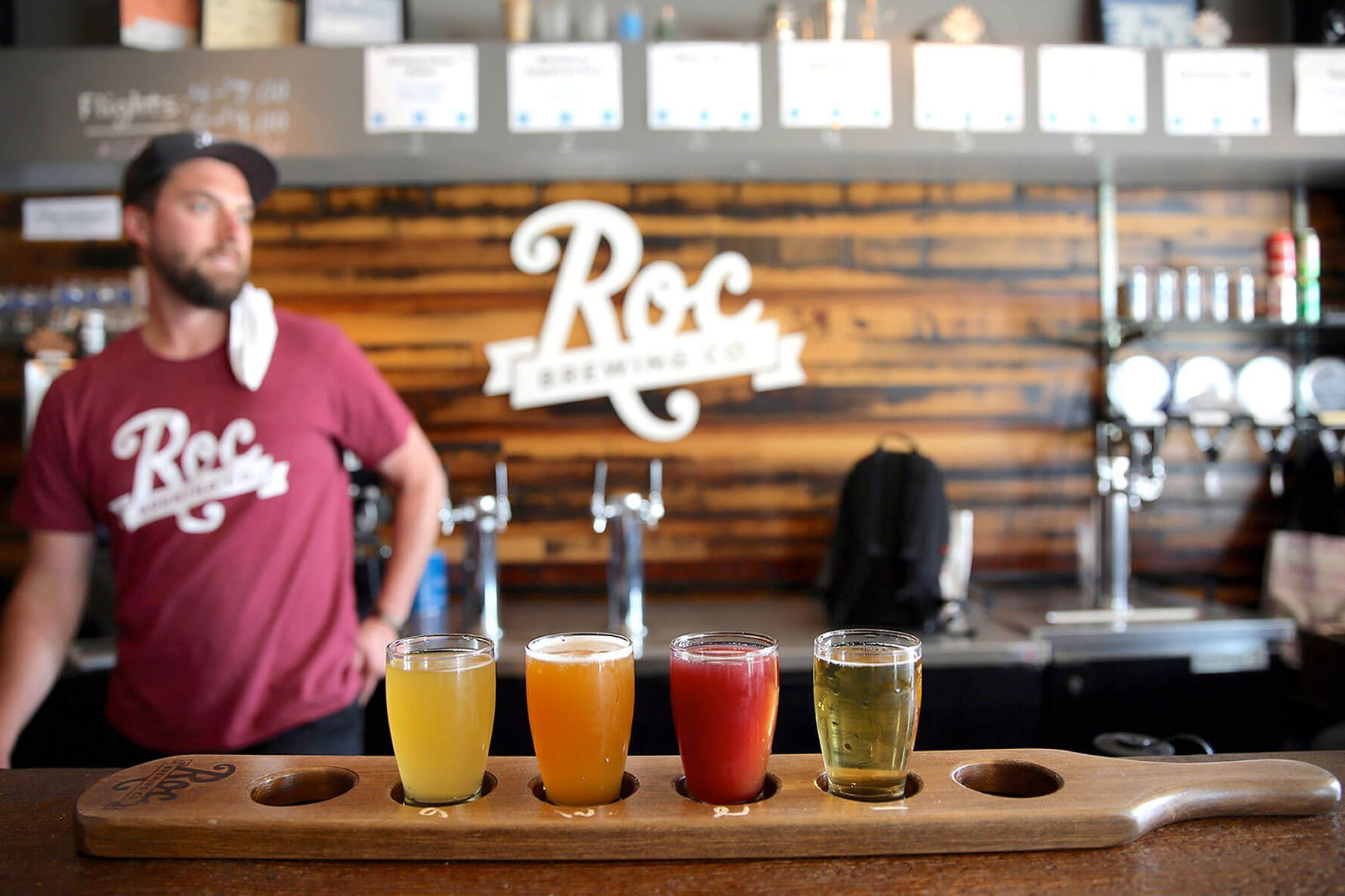 Inside the taproom at Roc Brewing Co. in Rochester, New York