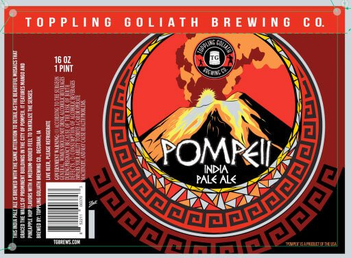 Label art for the Pompeii IPA by Toppling Goliath Brewing Co.