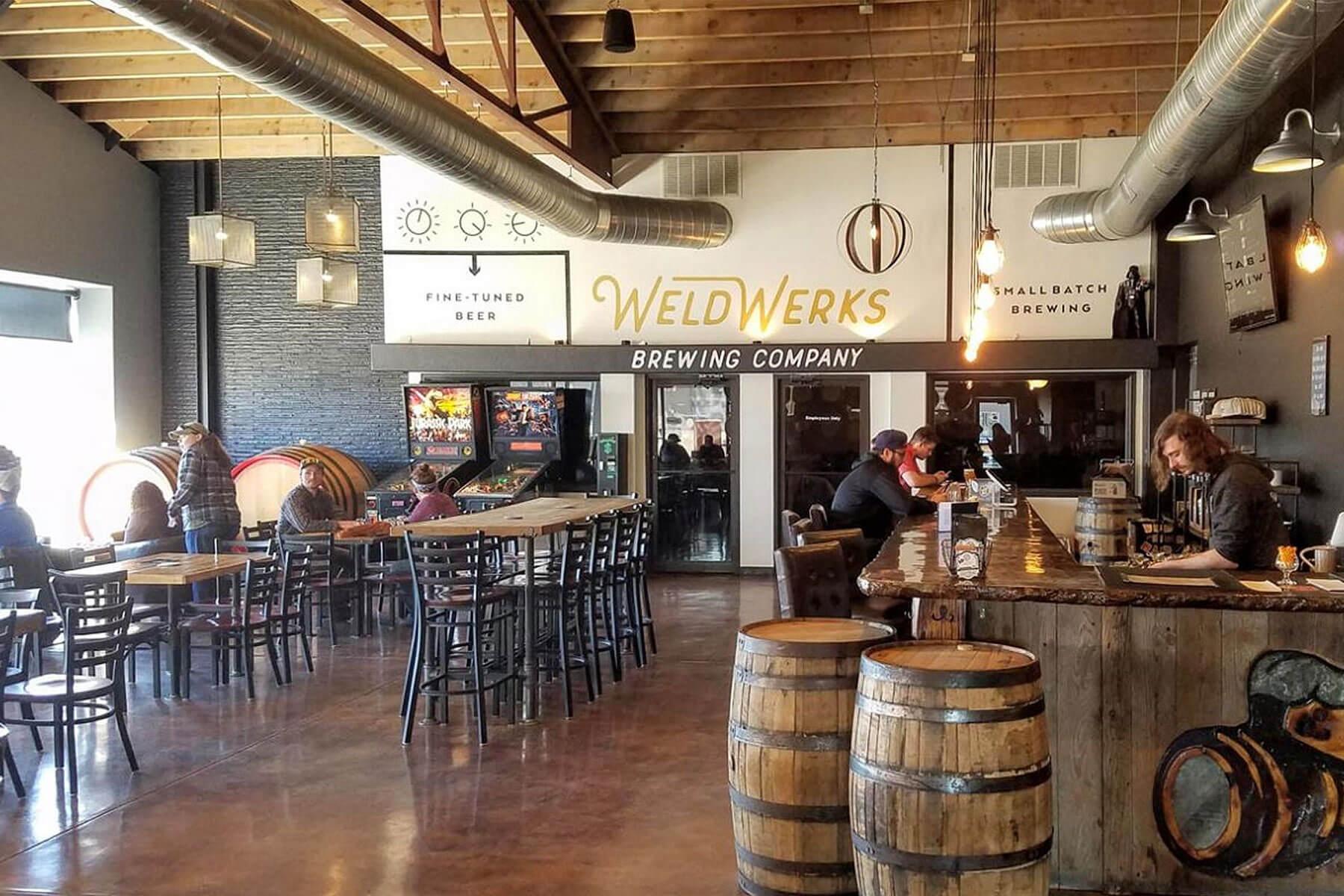 Inside the WeldWerks Brewing Co. taproom in Greeley, Colorado