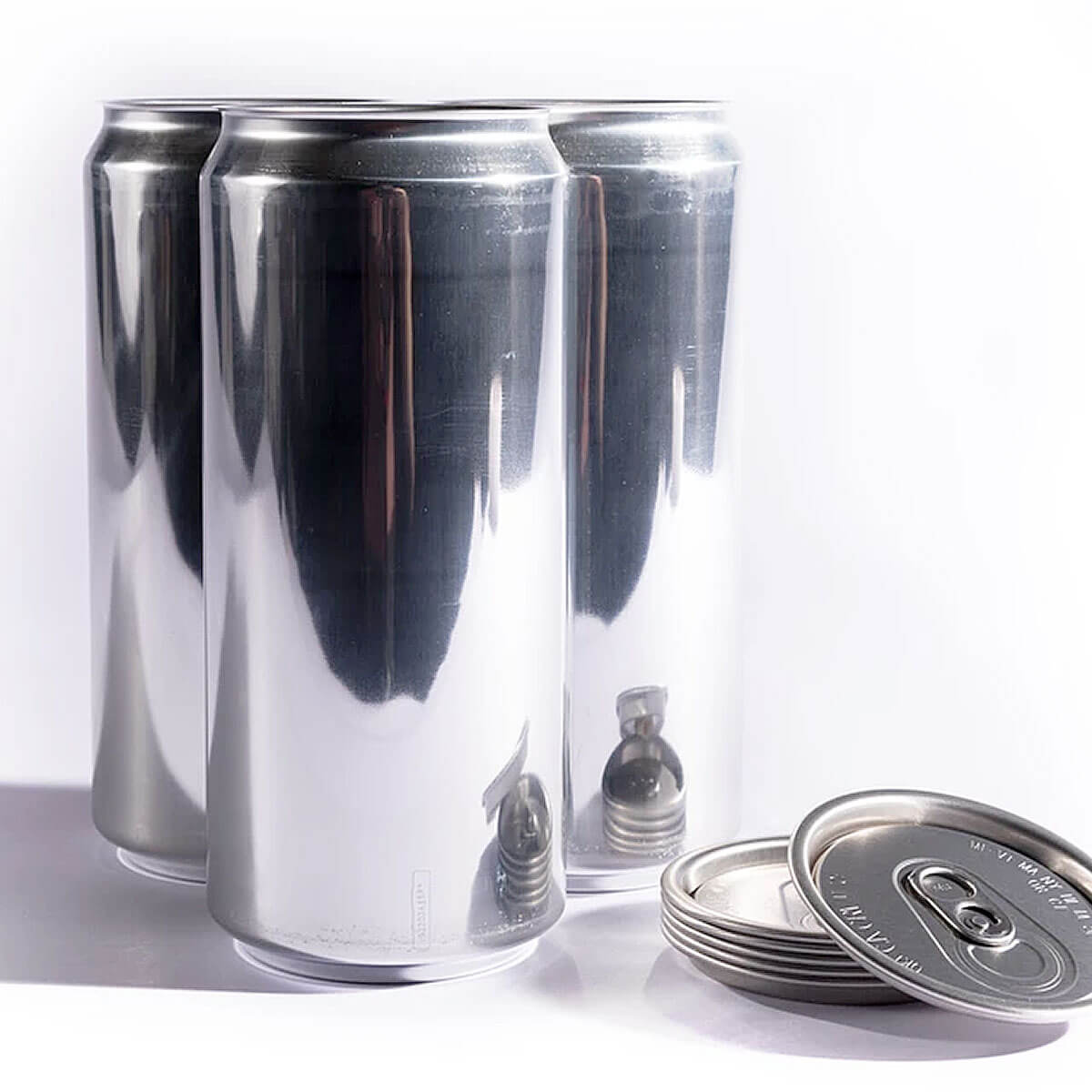 A trio of aluminum 32 oz. crowler cans produced by the Ball Corporation