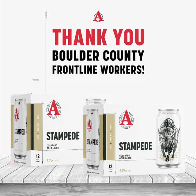 Avery Brewing Co. announced a commitment to share 4,000 cases of Stampede with frontline workers in Boulder County as a thank you for their service.
