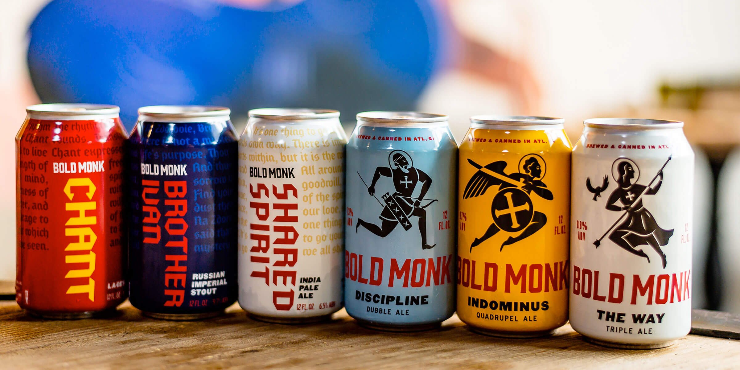 Lineup of canned beers offered by Bold Monk Brewing Co.