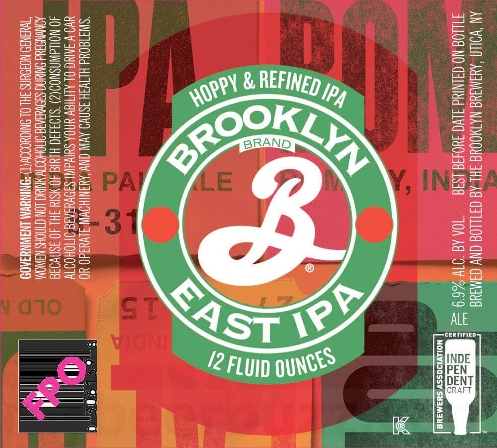 Label art for the Brooklyn East IPA by Brooklyn Brewery