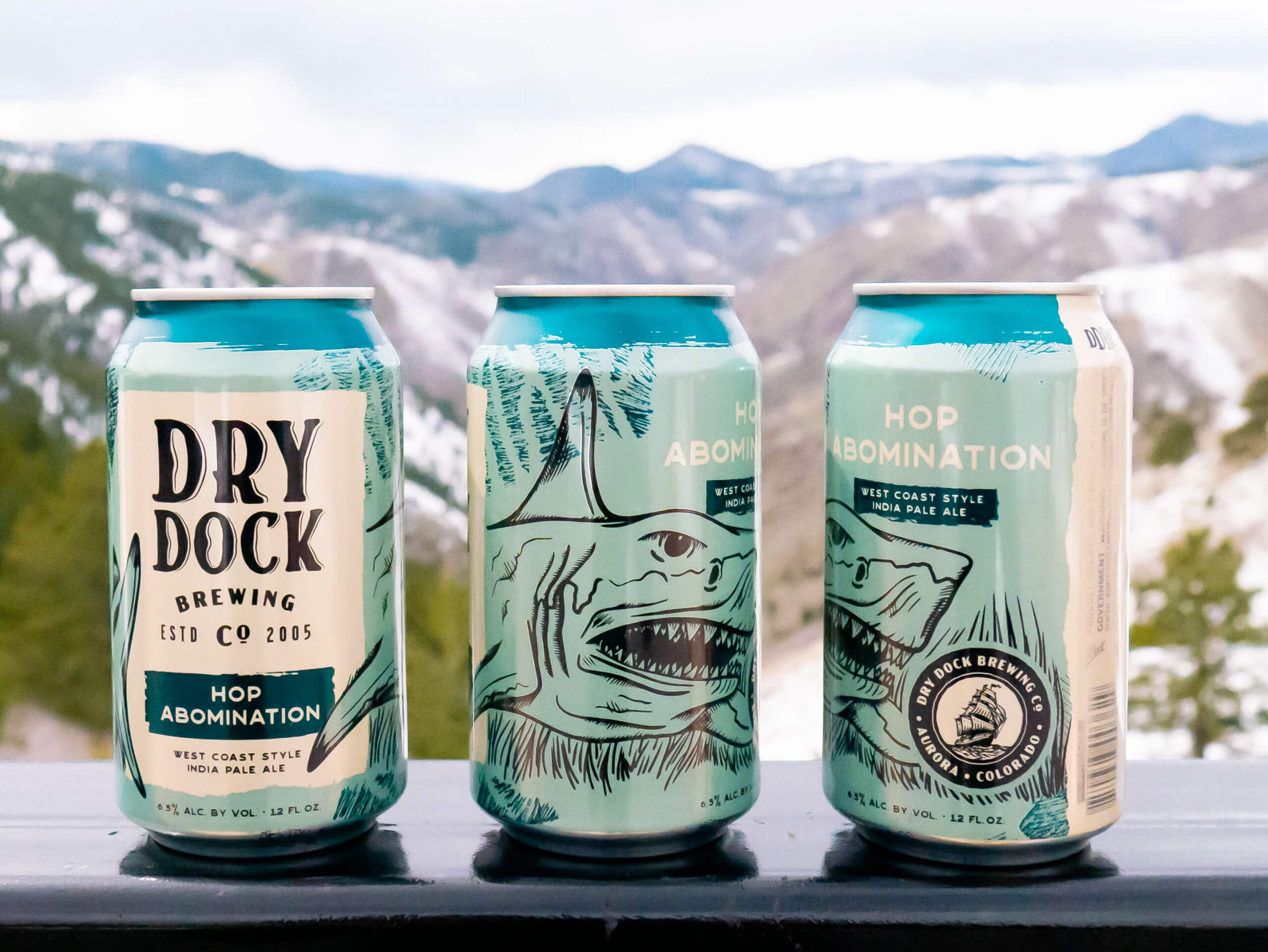 Redesigned cans of the Hop Abomination by Dry Dock Brewing Company