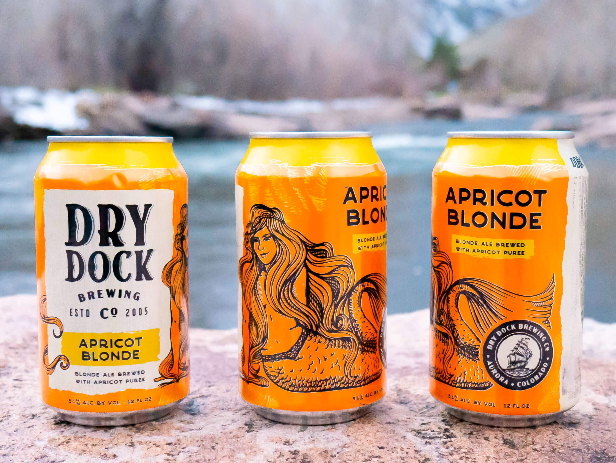 Redesigned cans of the Apricot Blonde by Dry Dock Brewing Company