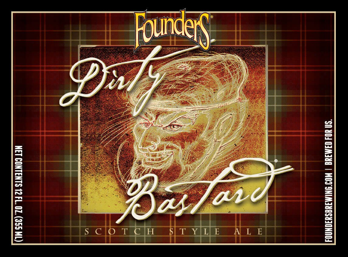Label art for the Dirty Bastard by Founders Brewing Co.