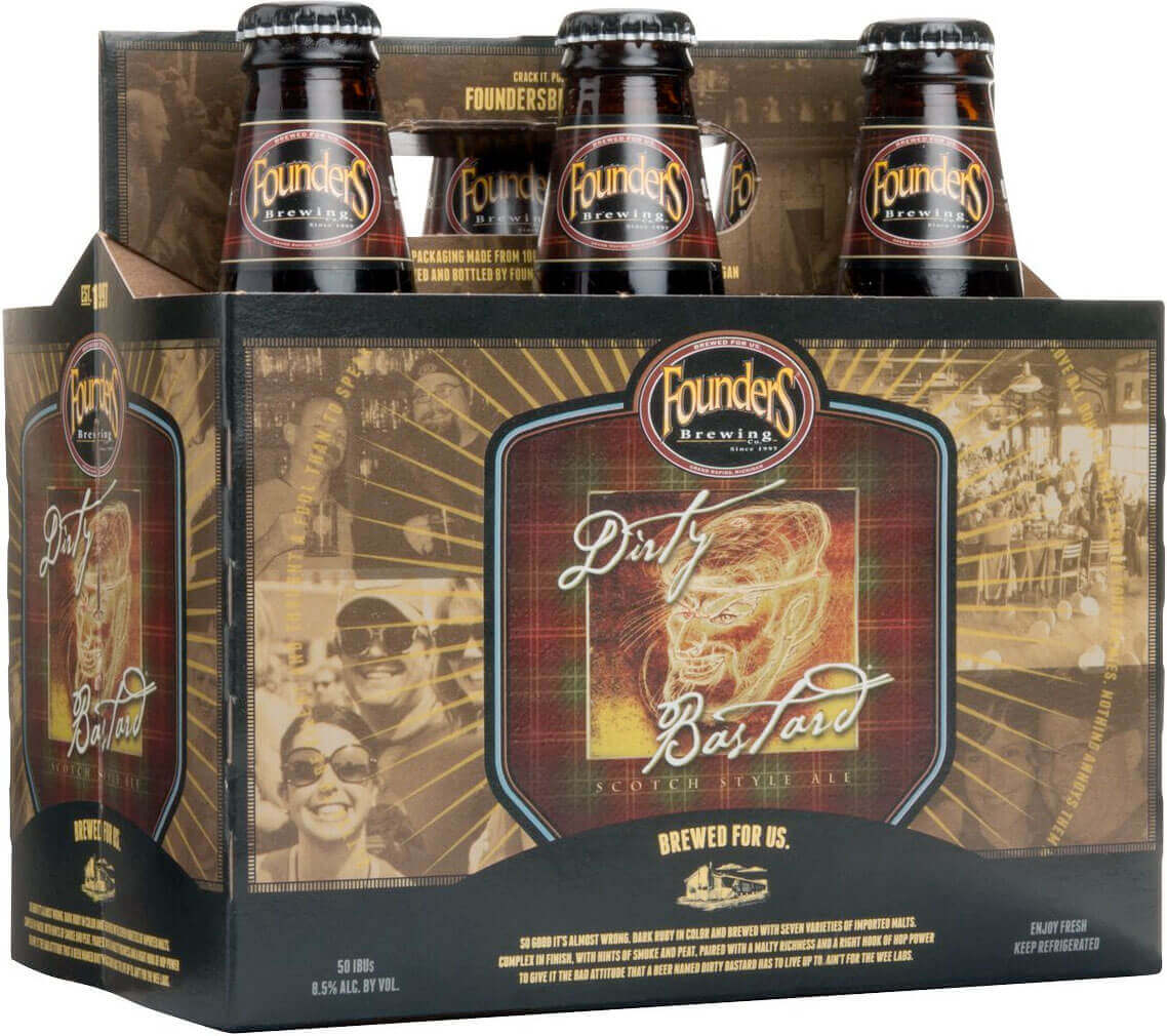 Packaging art for the Dirty Bastard by Founders Brewing Co.