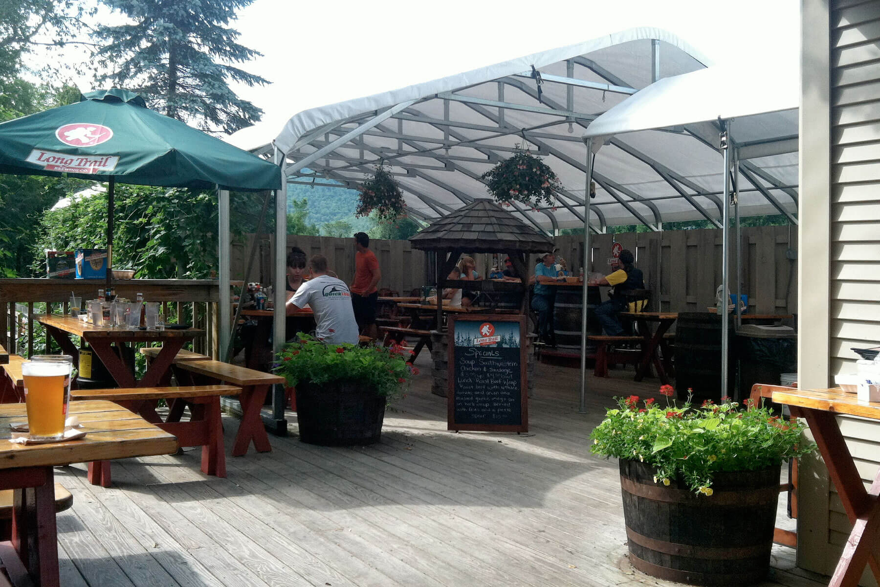 Outside on the patio at Long Trail Brewing Company in Bridgewater Corners, Vermont