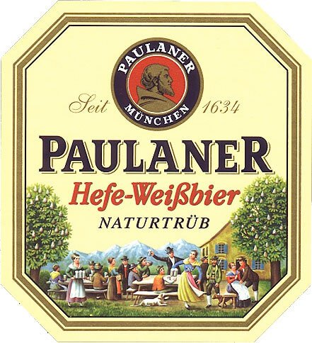 Label art for the Hefe-Weizen by Paulaner Brauerei München