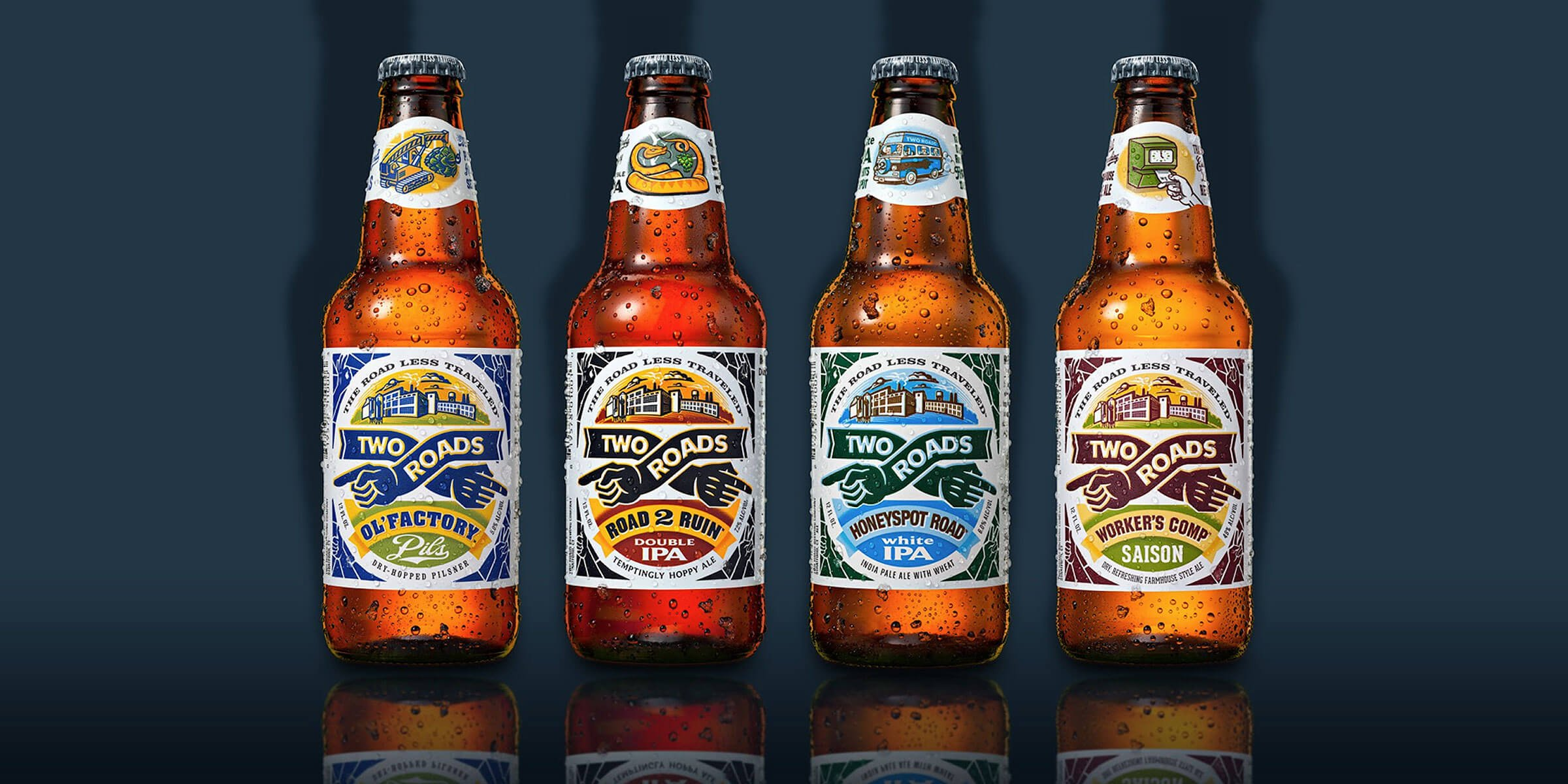 Lineup of bottled beers offered by Two Roads Brewing Co