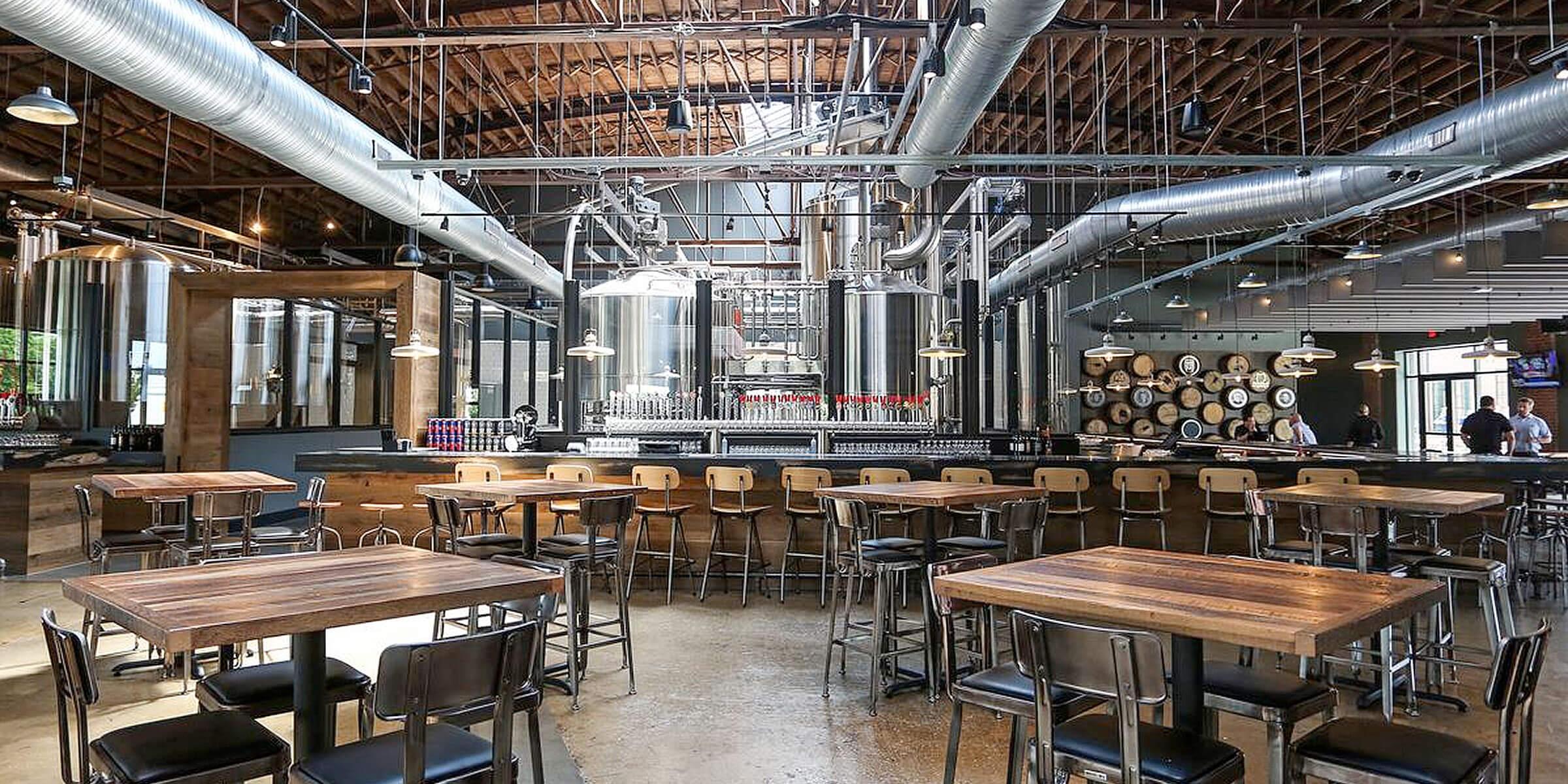 Inside the tasting room at Artisanal Brewing Ventures in Charlotte, North Carolina