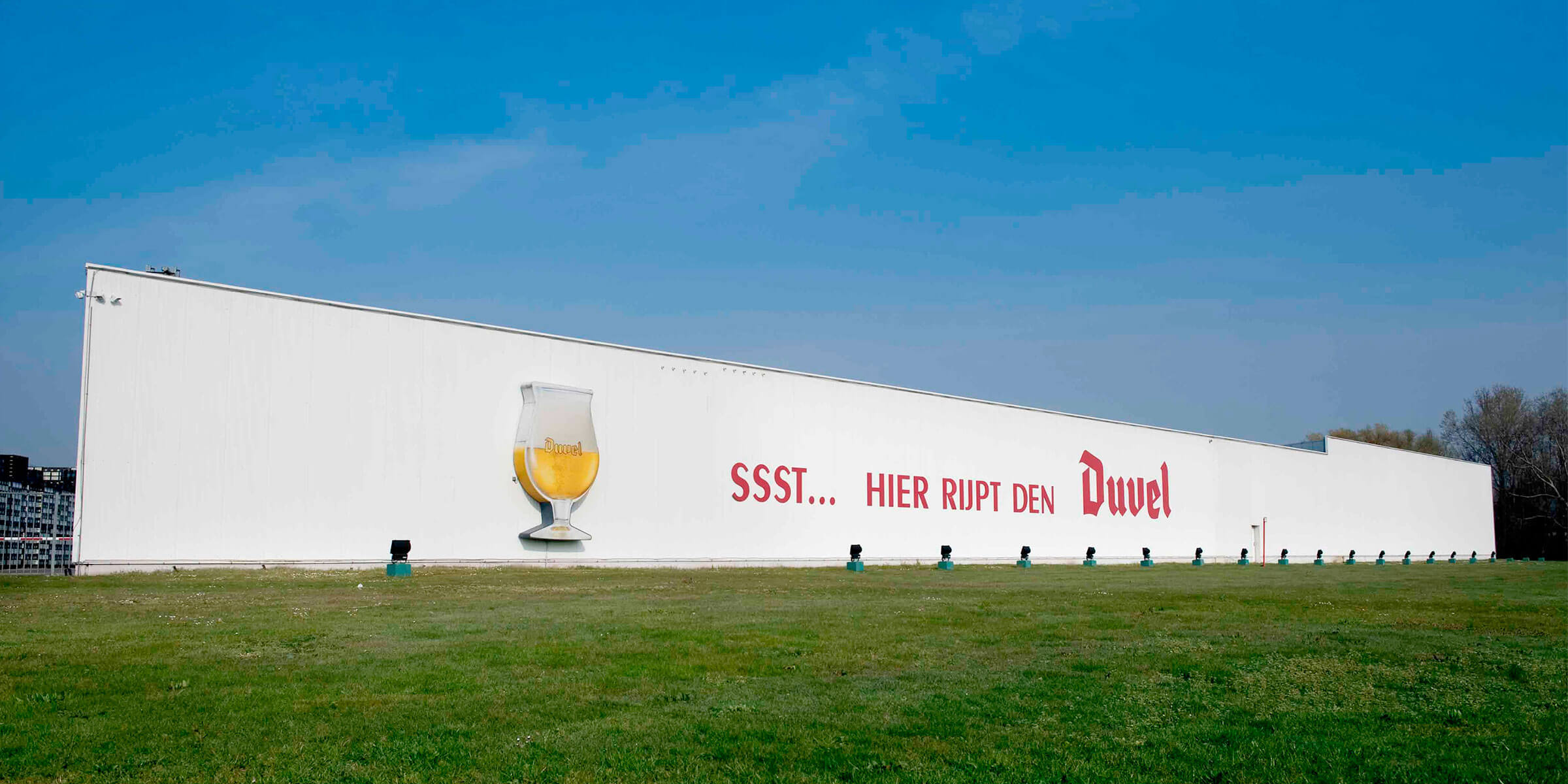 Outside the Duvel Moortgat production facility in Puurs, Flanders, Belgium