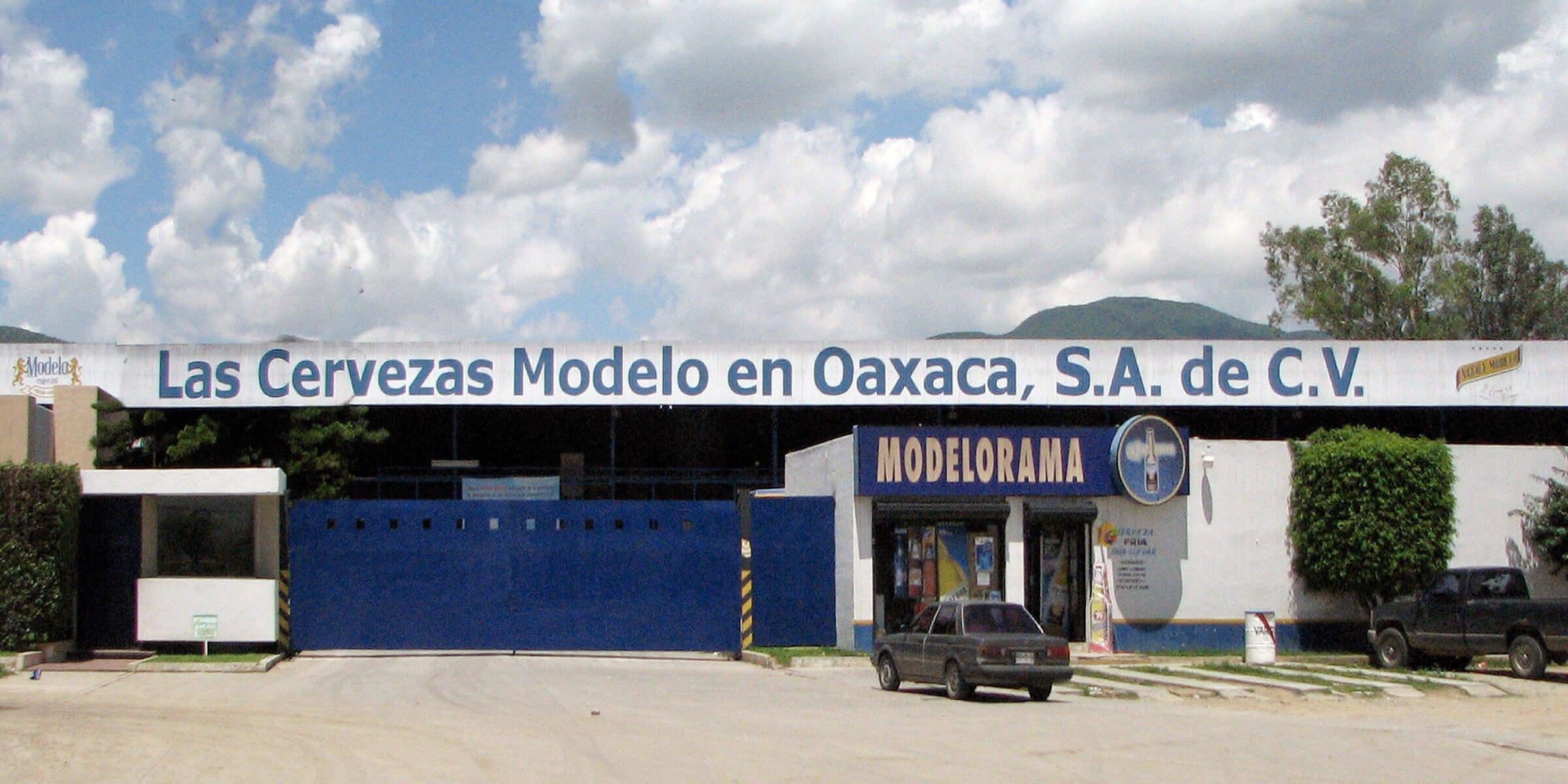 Outside the Grupo Modelo brewery in Oaxaca, Mexico