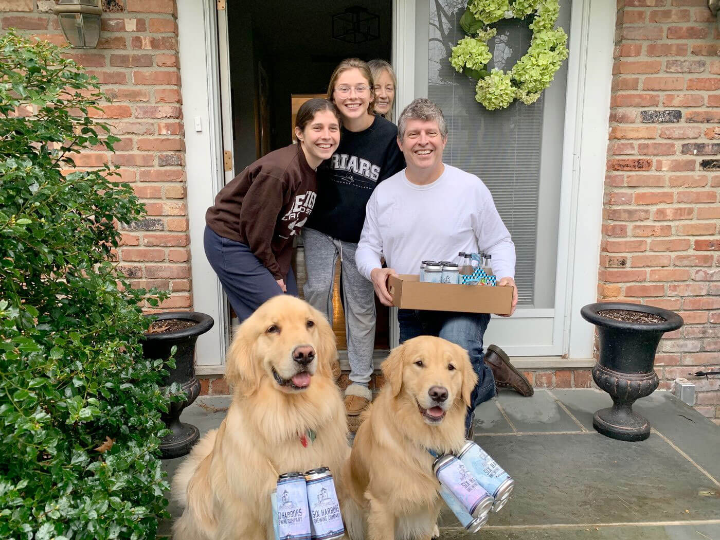To maintain safe social distancing amid the coronavirus pandemic, the owners of Six Harbors Brewing Company began using their dogs to make beer deliveries.