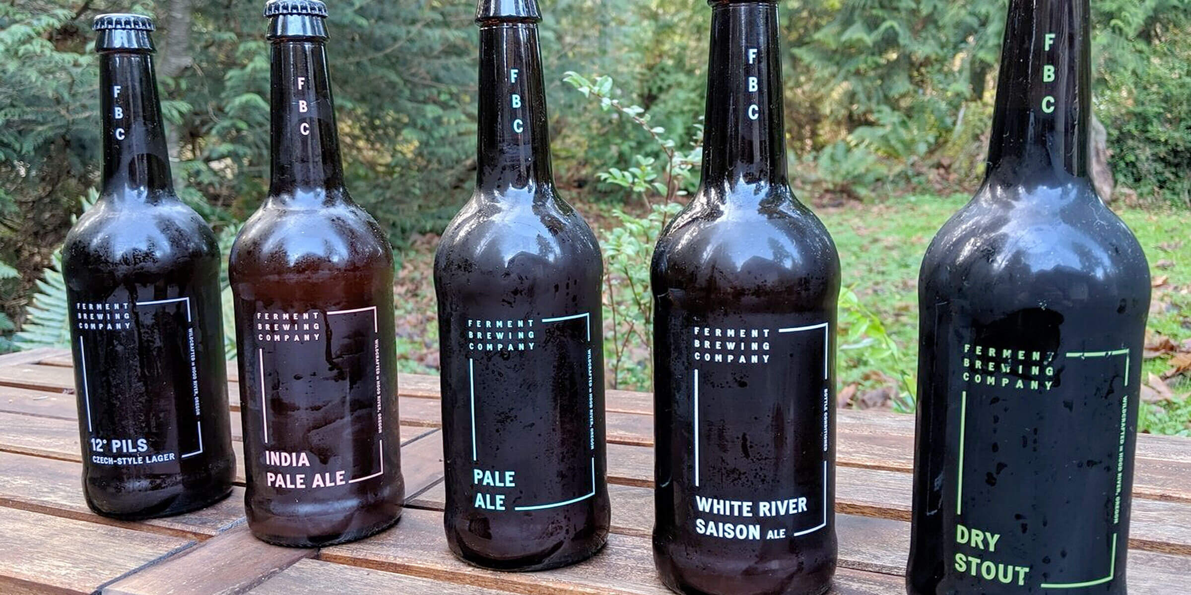 Lineup of bottled beers offered by Ferment Brewing Company