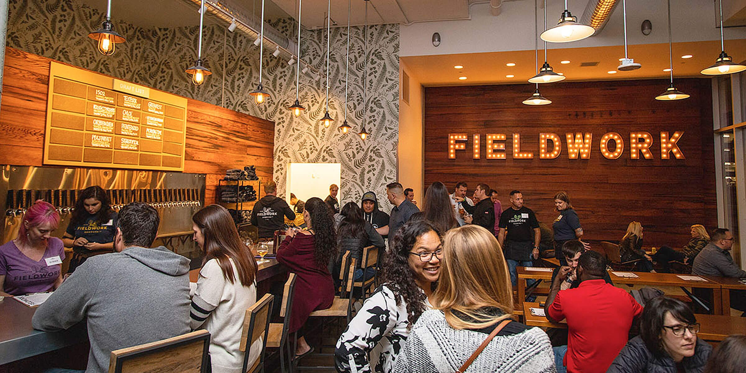Inside the taproom at the Fieldwork Brewing Company location in San Ramon, California