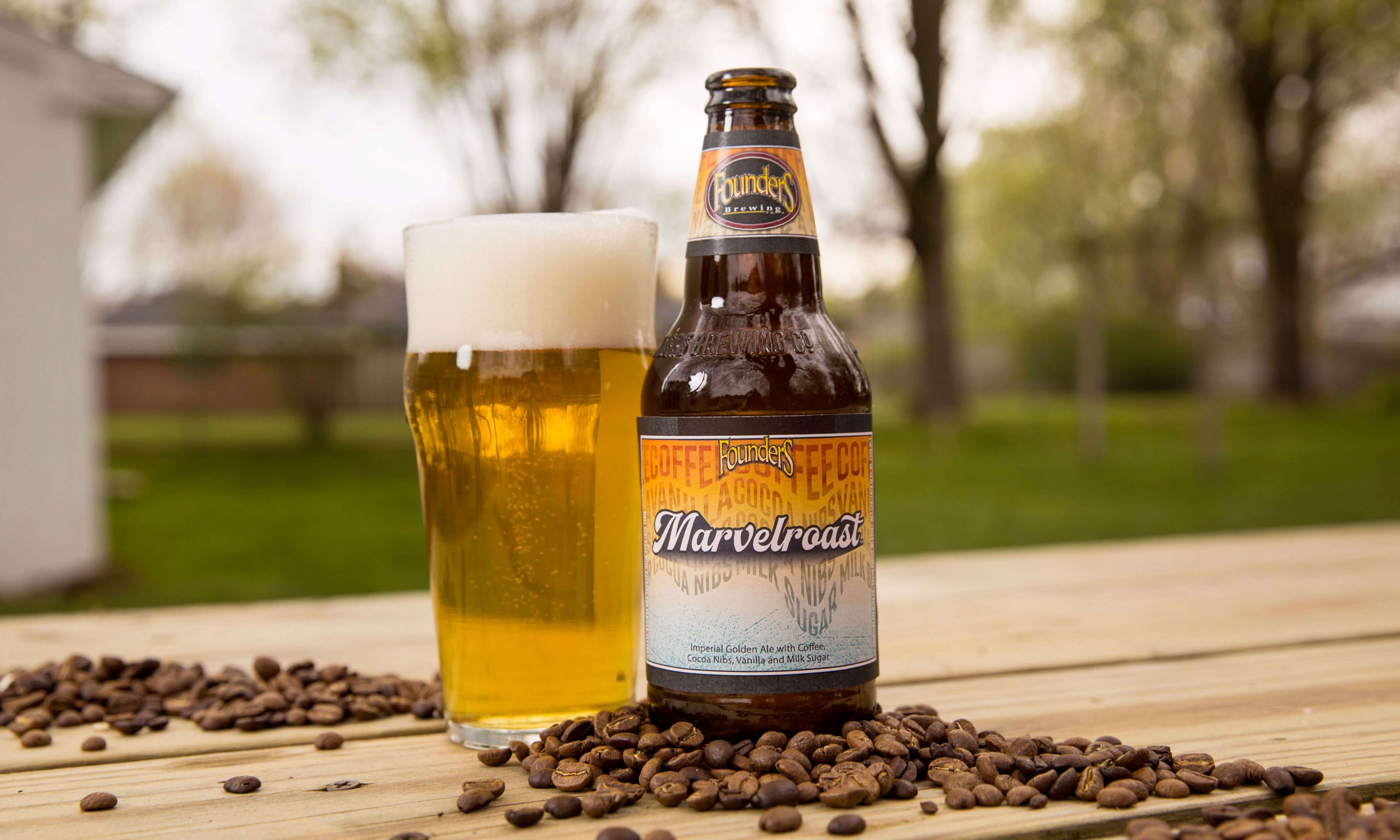 The Marvelroast Imperial Golden Ale by Founders Brewing Co. features an addition of coffee, vanilla, cocoa nibs, and milk sugar.